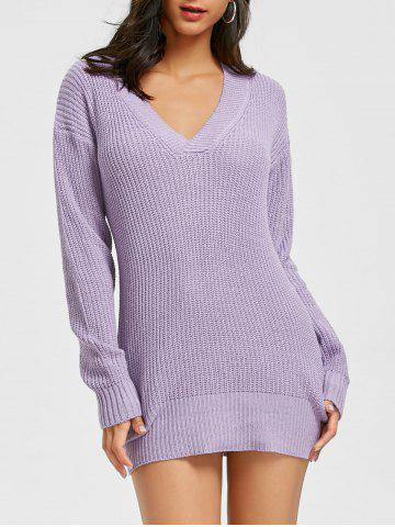 Fancy Mini V Neck Chunky Sweater Dress