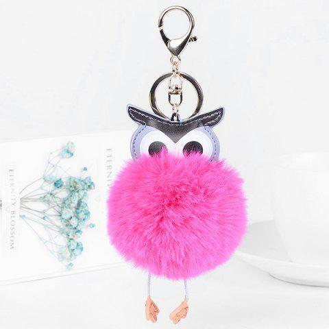 Outfits Faux Leather Fur Ball Owl Keychain