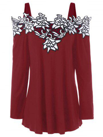 New Plus Size Cold Shoulder Embroidered Long Sleeve T-shirt