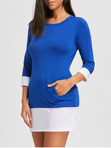 Online Casual Scoop Neck Color Block Long Sleeve Mini Dress For Women