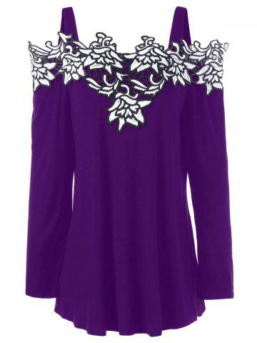 Affordable Plus Size Cold Shoulder Embroidered Long Sleeve T-shirt