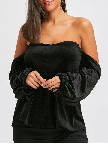Bell Sleeve Velvet Off The Shoulder Top