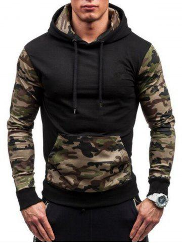 Camouflage Panel Drawstring Fleece Pullover Hoodie