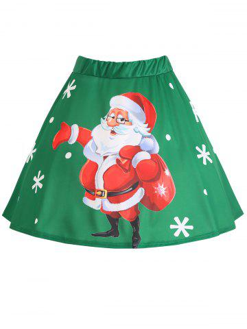 Affordable Plus Size Christmas Santa Claus Snowflake Print Skirt