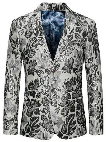 Chic Flap Pockets Single Breasted Floral Blazer