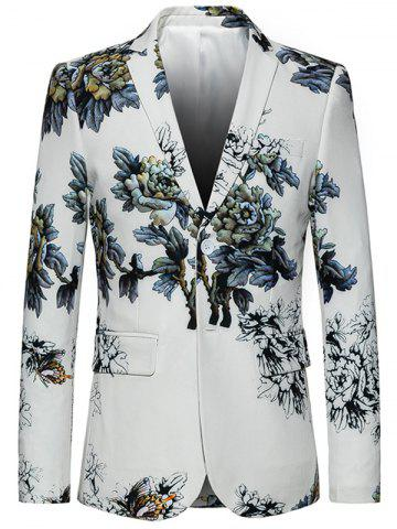 Chic Lapel Single Breasted Retro Peony Print Blazer