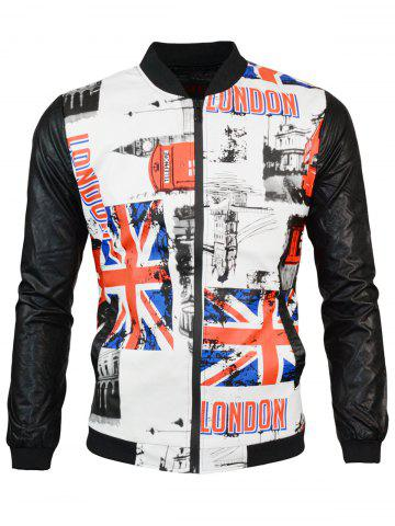 Zip Up Great Britain Flag Print PU Leather Jacket