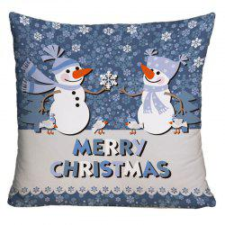 Two Snowmen Print Decorative Throw Pillow Case -