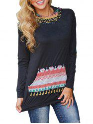 Hooded Long Sleeve Tunic Tee with Pocket -