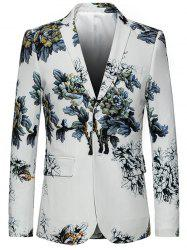 Lapel Single Breasted Retro Peony Print Blazer -