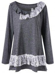 Plus Size Flounced Lace Trim Tunic Top -