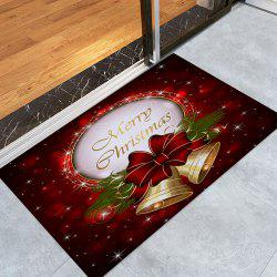 Christmas Bells Printed Nonslip Fleece Bath Mat -
