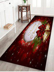 Christmas Bells Printed Coral Nonslip Fleece Bath Mat -