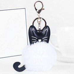 Cute Faux Leather Fuzzy Ball Kitten Keychain -