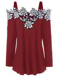 Plus Size Cold Shoulder Embroidered Long Sleeve T-shirt -