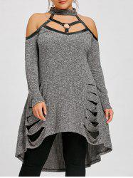 Plus Size Ripped Cold Shoulder Tunic Top -
