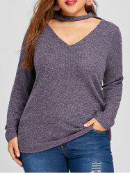 Plus Size Cut Out Jumper Sweater -