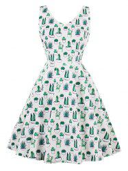 Vintage V Neck Cactus Print Pin Up Skater Dress -