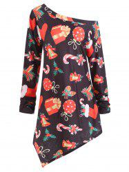 Plus Size Christmas Gifts Graphic Asymmetric Tunic Top -
