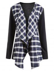 Collarless Plus Size Plaid Panel Waterfall Jacket -