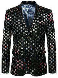 Single Breasted Lapel Check Blazer -