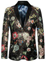 Floral Pattern Lapel Single Breasted Blazer -