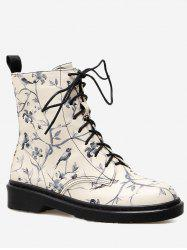 Birds in the Tree Printed Low Heel Ankle Boots -