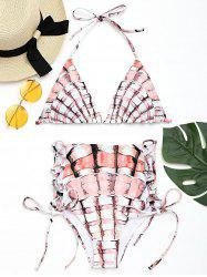 Lace-up High Waisted Print Bikini Set -