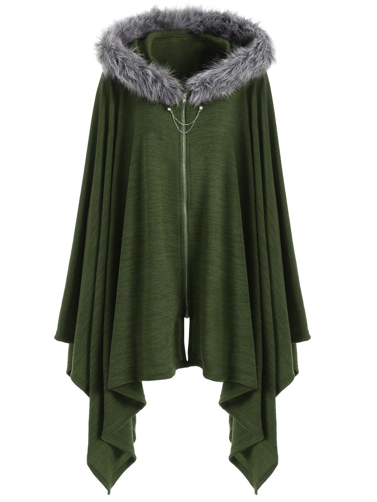 Faux Fur Insert Plus Size Asymmetric Cape CoatWOMEN<br><br>Size: 2XL; Color: ARMY GREEN; Clothes Type: Others; Material: Polyester,Spandex; Type: Wide-waisted; Shirt Length: Regular; Sleeve Length: Full; Collar: Hooded; Pattern Type: Solid; Style: Fashion; Season: Fall,Winter; Weight: 0.4700kg; Package Contents: 1 x Coat;