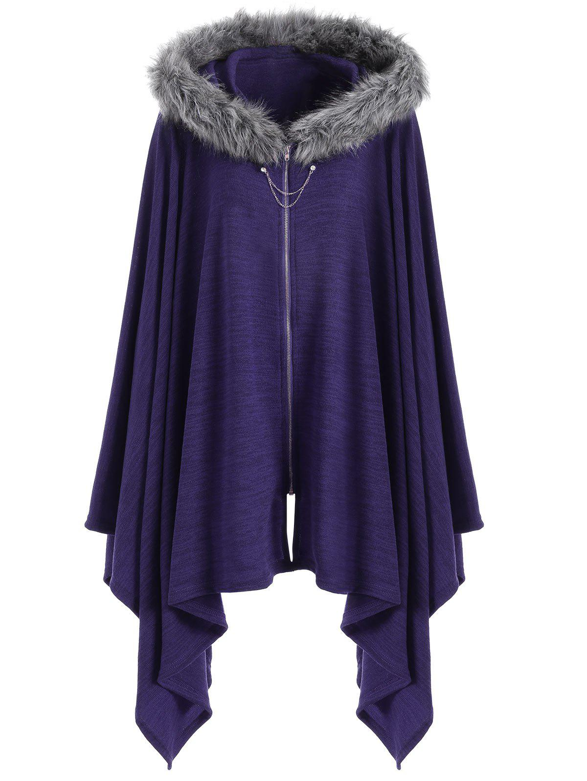 Faux Fur Insert Plus Size Asymmetric Cape CoatWOMEN<br><br>Size: XL; Color: PURPLE; Clothes Type: Others; Material: Polyester,Spandex; Type: Wide-waisted; Shirt Length: Regular; Sleeve Length: Full; Collar: Hooded; Pattern Type: Solid; Style: Fashion; Season: Fall,Winter; Weight: 0.4700kg; Package Contents: 1 x Coat;
