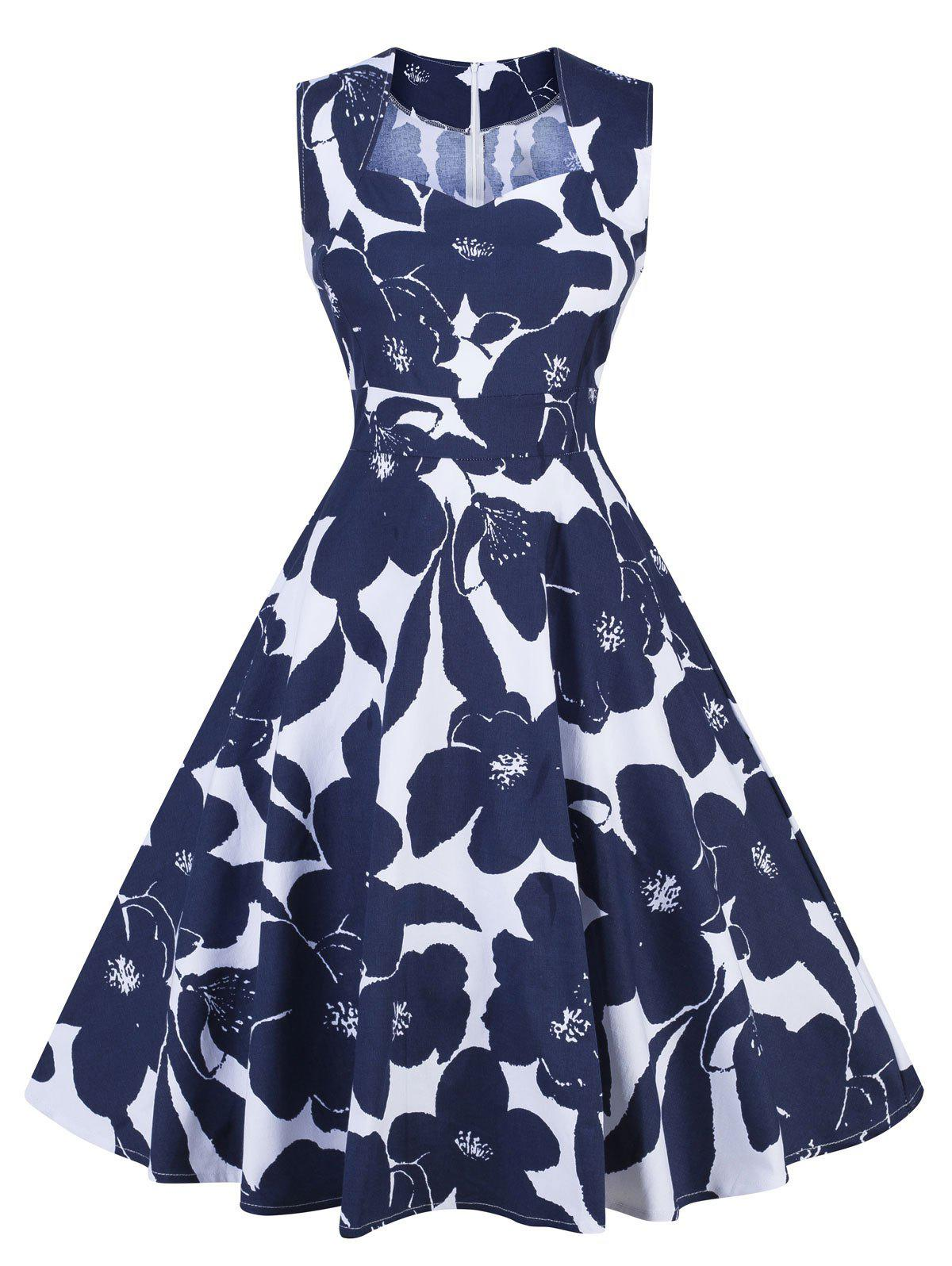 Vintage Floral Print Pin Up Swing DressWOMEN<br><br>Size: XL; Color: BLUE AND WHITE; Style: Vintage; Material: Cotton; Silhouette: A-Line; Dresses Length: Knee-Length; Neckline: Sweetheart Neck; Sleeve Length: Sleeveless; Pattern Type: Floral; With Belt: No; Season: Fall,Spring; Weight: 0.3500kg; Package Contents: 1 x Dress;