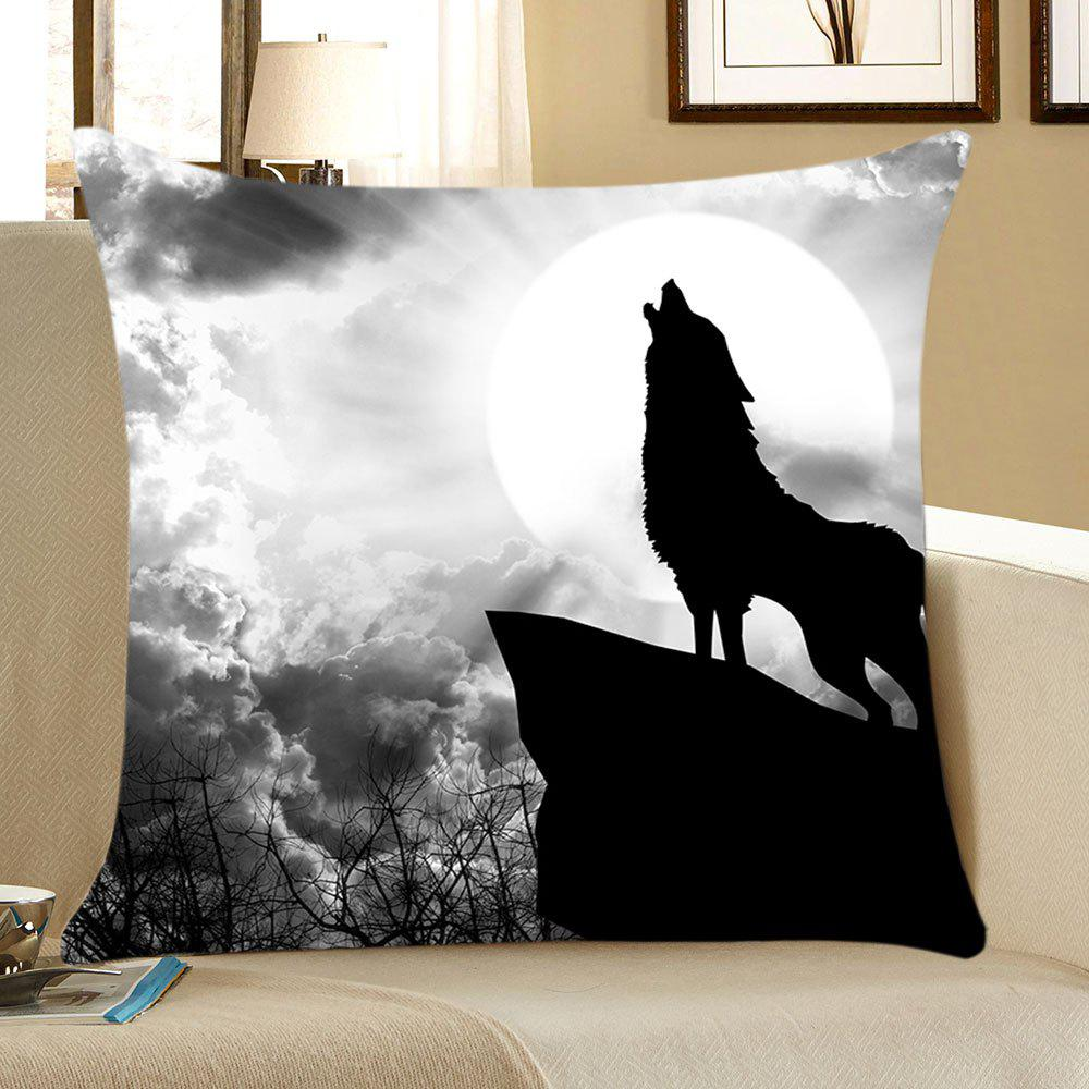 Moon Wolf Pattern Square Pillow CaseHOME<br><br>Size: W18 INCH * L18 INCH; Color: GRAY; Material: Linen; Pattern: Animal; Style: Casual; Shape: Square; Weight: 0.0700kg; Package Contents: 1 x Pillow Case;