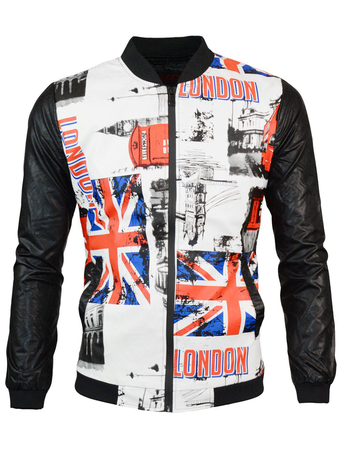 Outfits Zip Up Great Britain Flag Print PU Leather Jacket