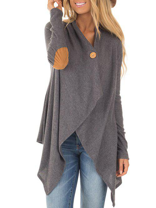 Asymmetrical Elbow Patch CardiganWOMEN<br><br>Size: L; Color: GRAY; Type: Cardigans; Material: Cotton,Polyester; Sleeve Length: Full; Collar: Collarless; Style: Fashion; Pattern Type: Others; Season: Fall,Winter; Weight: 0.3900kg; Package Contents: 1 x Cardigan;
