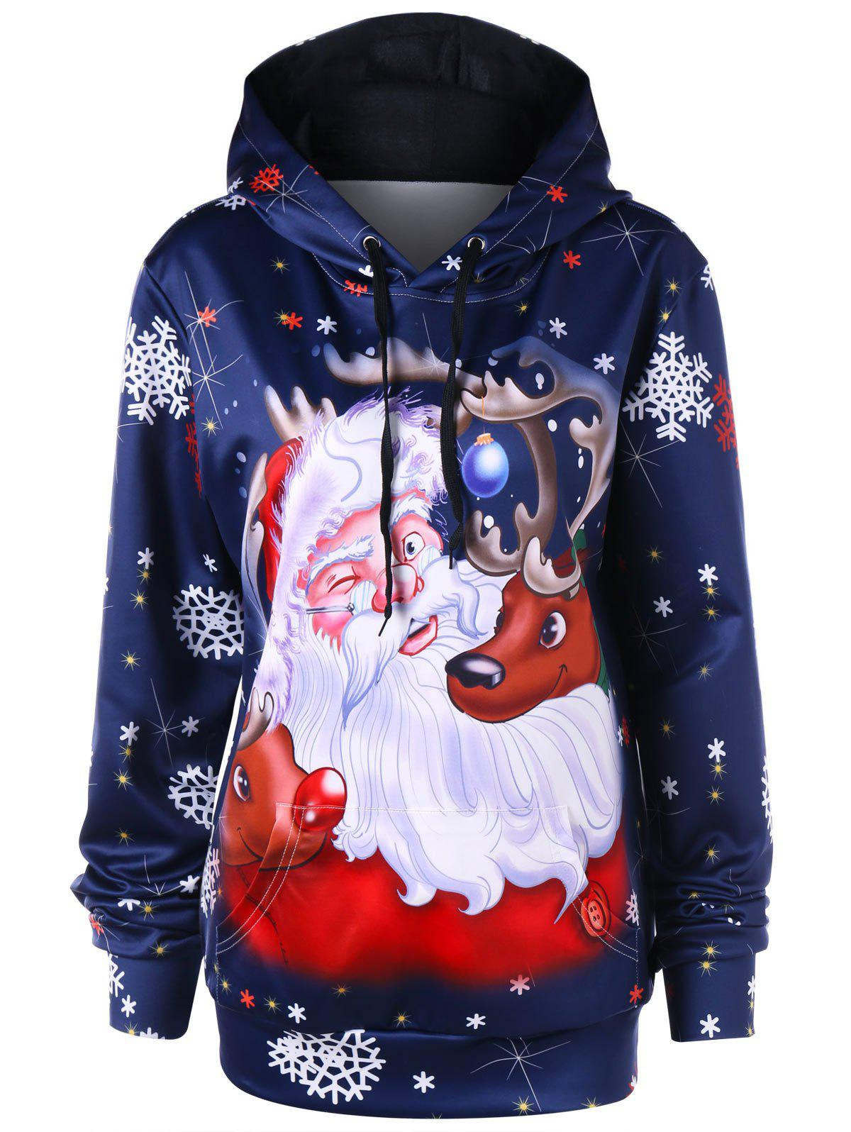 Store Christmas Plus Size Kangaroo Pocket Tunic Hoodie
