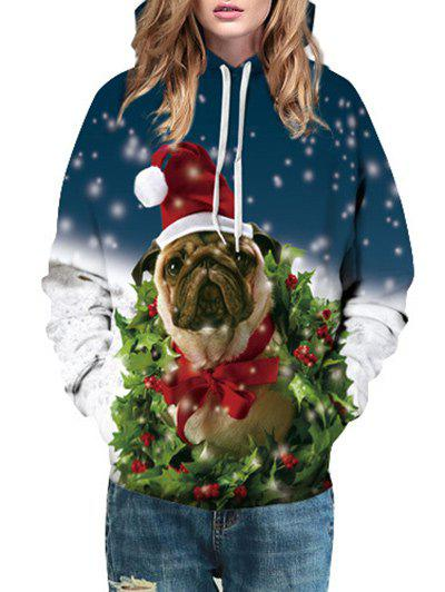 Christmas Dog Berry Print HoodieWOMEN<br><br>Size: L; Color: COLORMIX; Material: Polyester; Shirt Length: Regular; Sleeve Length: Full; Style: Fashion; Pattern Style: Animal; Season: Fall,Spring,Winter; Weight: 0.4000kg; Package Contents: 1 x Hoodie;