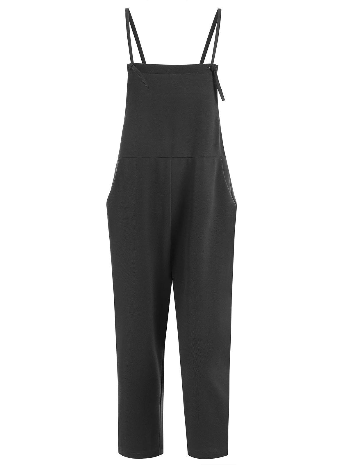 Plus Size Overalls with PocketWOMEN<br><br>Size: 2XL; Color: BLACK; Style: Casual; Length: Normal; Material: Polyester; Fit Type: Regular; Waist Type: Mid; Closure Type: Button Fly; Pattern Type: Solid; Pant Style: Pencil Pants; With Belt: No; Weight: 0.3900kg; Package Contents: 1 x Overalls;