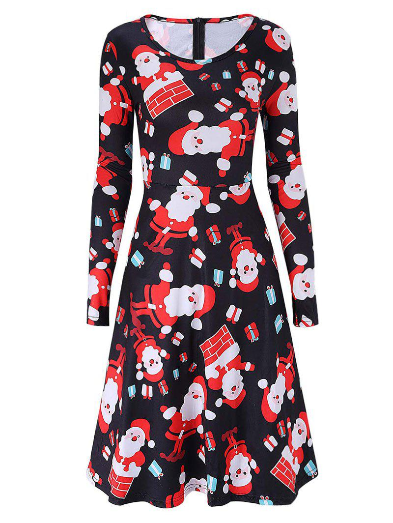 Santa Claus Print Christmas Swing DressWOMEN<br><br>Size: M; Color: BLACK; Style: Brief; Material: Cotton; Silhouette: A-Line; Dress Type: Swing Dress; Dresses Length: Knee-Length; Neckline: Scoop Neck; Sleeve Length: Long Sleeves; Pattern Type: Print; With Belt: No; Season: Fall,Spring; Weight: 0.3700kg; Package Contents: 1 x Dress;