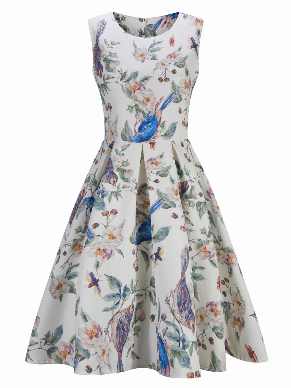 Vintage Floral Bird Print Skater Pin Up DressWOMEN<br><br>Size: M; Color: WHITE; Style: Vintage; Material: Cotton; Silhouette: A-Line; Dress Type: Fit and Flare Dress; Dresses Length: Knee-Length; Neckline: Round Collar; Sleeve Length: Sleeveless; Pattern Type: Animal,Floral; With Belt: No; Season: Fall,Spring; Weight: 0.3600kg; Package Contents: 1 x Dress;