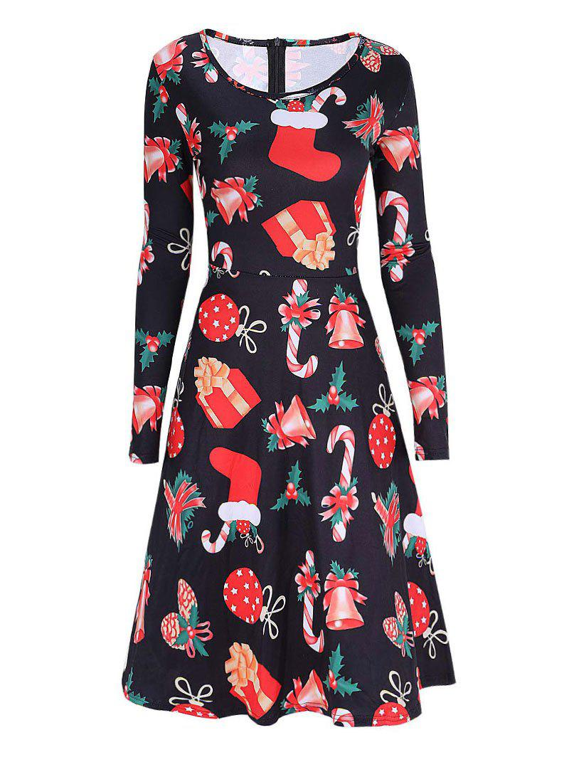 Christmas Print Party Skater DressWOMEN<br><br>Size: M; Color: BLACK; Style: Brief; Material: Cotton,Polyester; Silhouette: A-Line; Dress Type: Skater Dress,Swing Dress; Dresses Length: Knee-Length; Neckline: Scoop Neck; Sleeve Length: Long Sleeves; Pattern Type: Print; With Belt: No; Season: Fall,Spring; Weight: 0.3500kg; Package Contents: 1 x Dress;