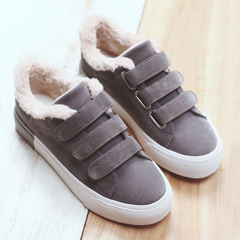 Color Block Low Heel Fur Casual ShoesSHOES &amp; BAGS<br><br>Size: 39; Color: GRAY; Gender: For Women; Closure Type: Hook &amp; Loop; Shoe Width: Medium(B/M); Pattern Type: Solid; Upper Material: PU; Season: Winter; Weight: 1.2000kg; Package Contents: 1 x Casual Shoes (pair);