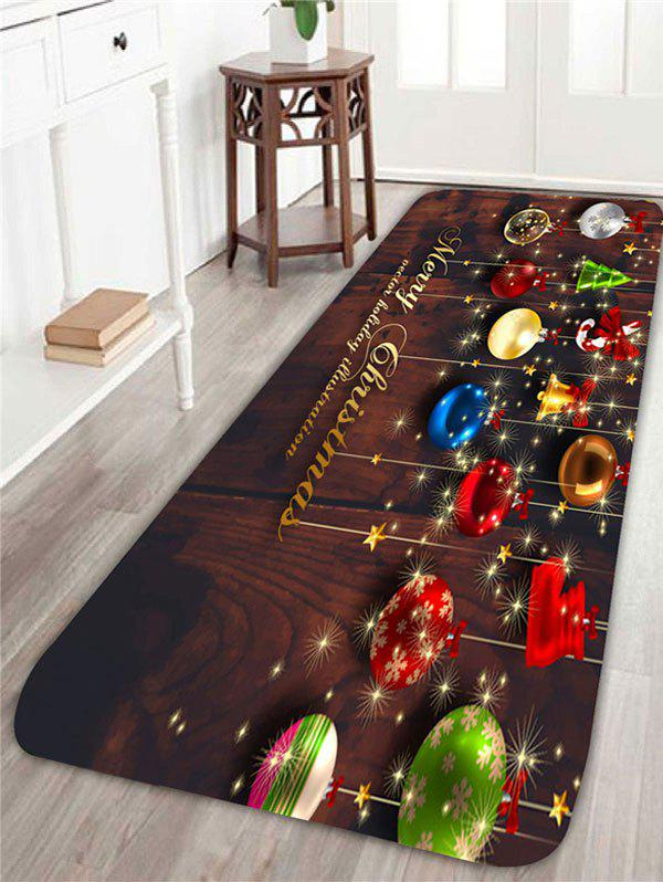 Home Decor Christmas Colorful Balls Pattern Area RugHOME<br><br>Size: W24 INCH * L71 INCH; Color: CHOCOLATE; Products Type: Shower Curtains; Materials: Coral FLeece; Pattern: Ball; Style: Festival; Shape: Rectangular; Package Contents: 1 x Area Rug;