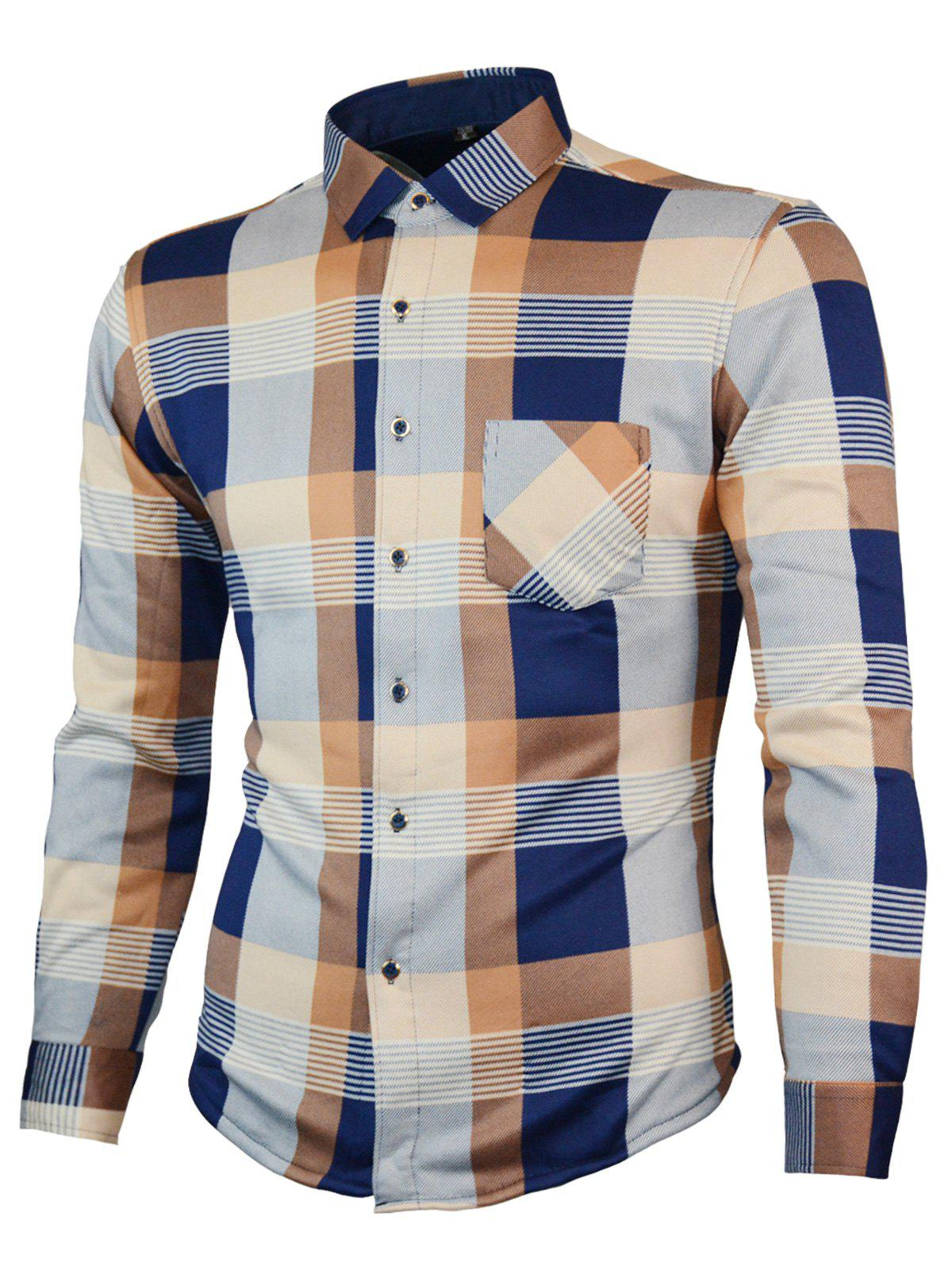 Chest Pocket Long Sleeve Plaid ShirtMEN<br><br>Size: L; Color: KHAKI; Shirts Type: Casual Shirts; Material: Cotton,Polyester; Sleeve Length: Full; Collar: Turn-down Collar; Pattern Type: Plaid; Weight: 0.5300kg; Package Contents: 1 x Shirt;