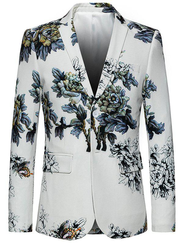 Trendy Lapel Single Breasted Retro Peony Print Blazer