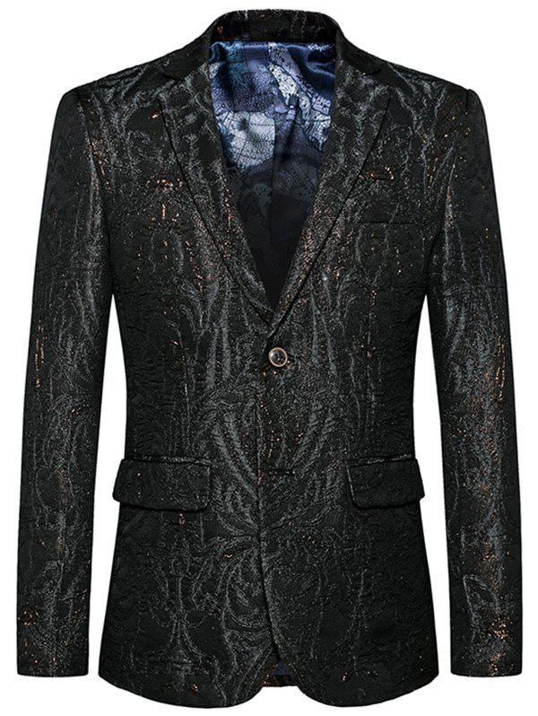 Store Single Breasted Lapel Jacquard Blazer