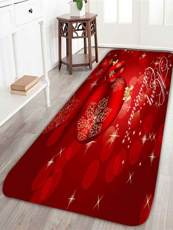 Christmas Ball Pattern Indoor Area RugHOME<br><br>Size: W16 INCH * L47 INCH; Color: RED; Products Type: Bath rugs; Materials: Coral FLeece; Pattern: Ball; Style: Festival; Shape: Rectangular; Package Contents: 1 x Rug;