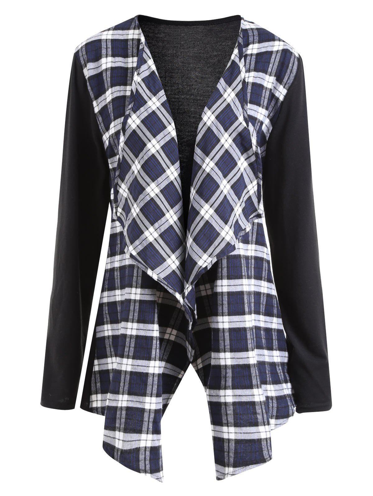 Collarless Plus Size Plaid Panel Waterfall JacketWOMEN<br><br>Size: 2XL; Color: BLACK; Clothes Type: Jackets; Material: Cotton Blends,Polyester; Type: Asymmetric Length; Shirt Length: Regular; Sleeve Length: Full; Collar: Collarless; Pattern Type: Plaid; Embellishment: Draped,Spliced; Style: Fashion; Season: Fall; Weight: 0.3200kg; Package Contents: 1 x Jacket;