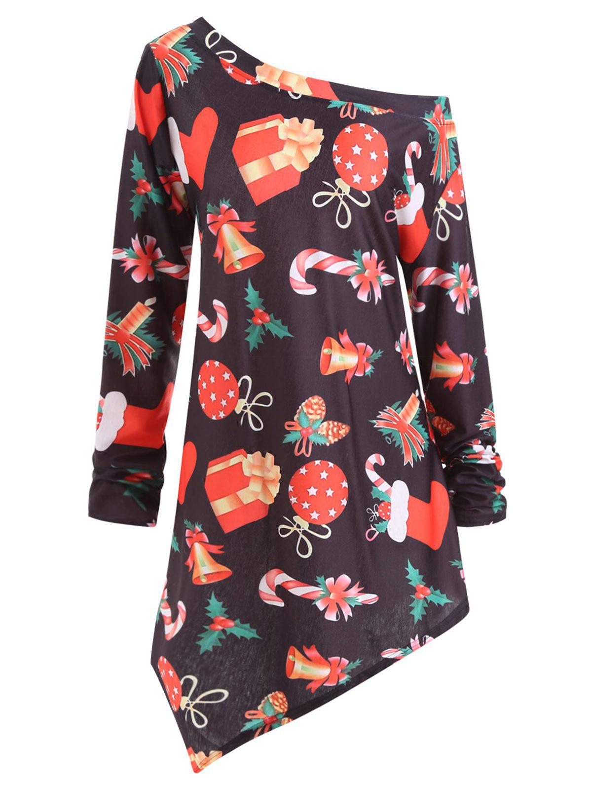 Shop Plus Size Christmas Gifts Graphic Asymmetric Tunic Top