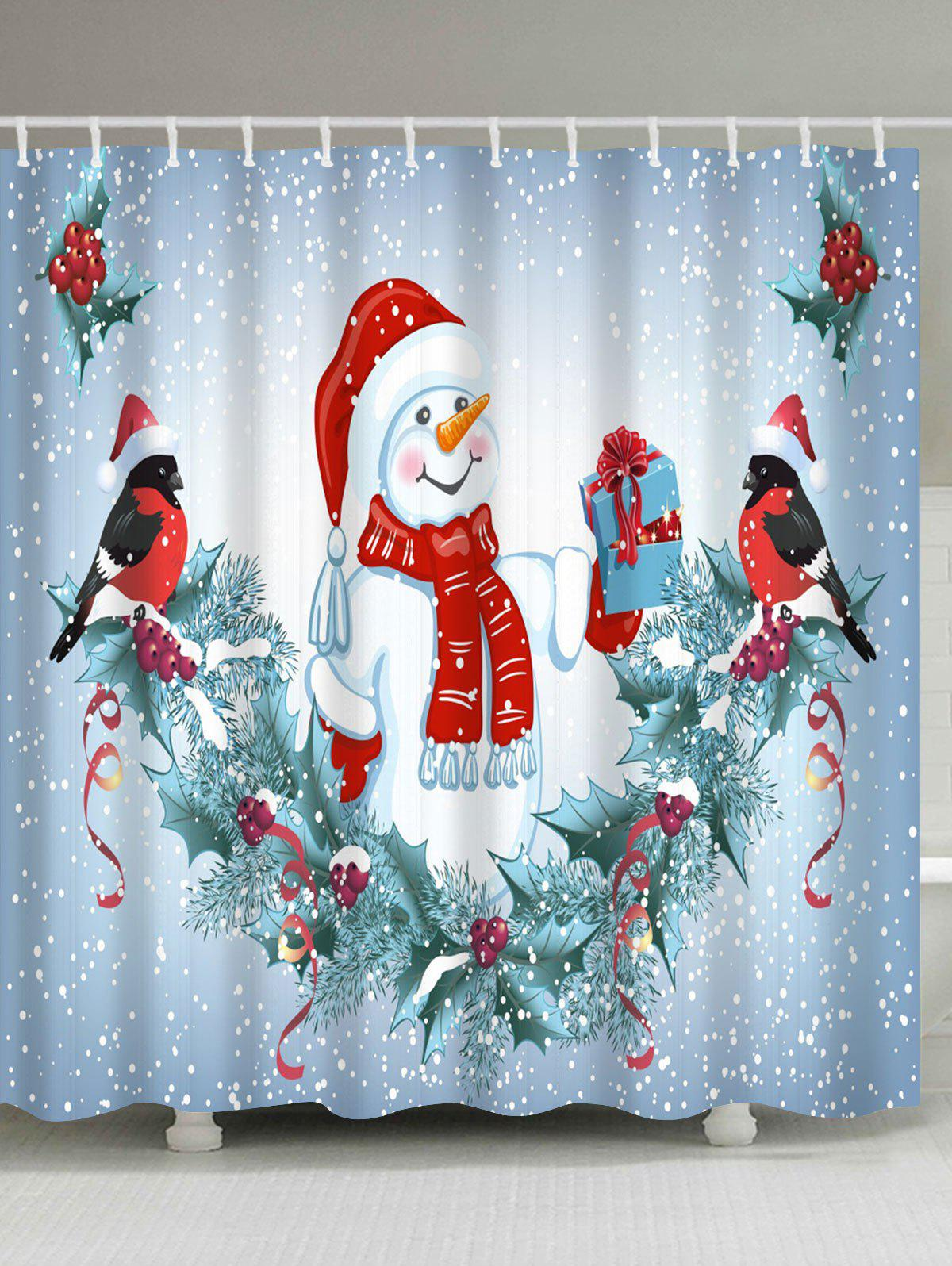 Christmas Snowman Birds Print Waterproof Bathroom Shower CurtainHOME<br><br>Size: W71 INCH * L79 INCH; Color: COLORMIX; Products Type: Shower Curtains; Materials: Polyester; Pattern: Snowman; Style: Festival; Number of Hook Holes: W59 inch*L71 inch: 10; W71 inch*L71 inch: 12; W71 inch*L79 inch: 12; Package Contents: 1 x Shower Curtain 1 x Hooks (Set);
