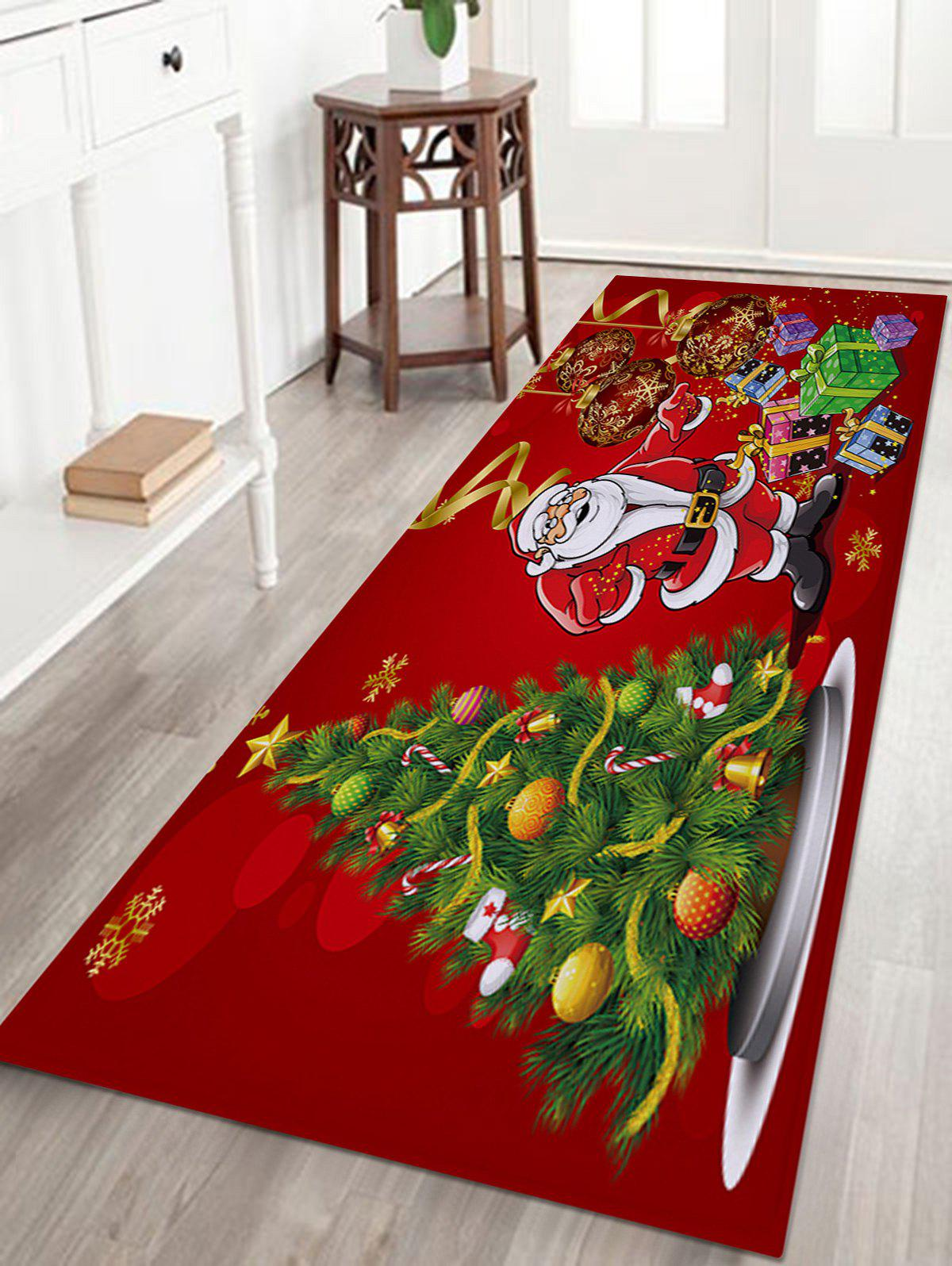 Christmas Tree Santa Baubles Pattern Anti-skid Water Absorption Area RugHOME<br><br>Size: W24 INCH * L71 INCH; Color: COLORMIX; Products Type: Bath rugs; Materials: Coral FLeece; Pattern: Ball,Christmas Tree,Gift,Santa Claus; Style: Festival; Shape: Rectangle; Package Contents: 1 x Rug;